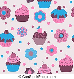 Seamless pattern of cute cupcakes with flowers