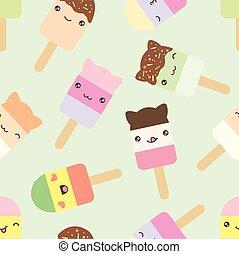 Seamless pattern of cute kawaii style ice cream