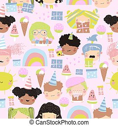 Seamless pattern of cute kids faces with birthday party elements on pink background