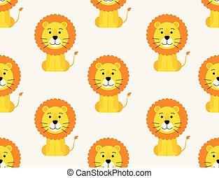 Seamless pattern of cute lion on white background
