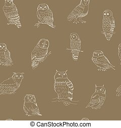 Seamless pattern of cute owls on a brown background
