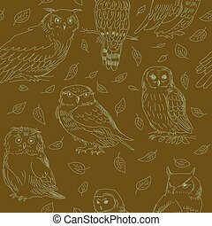Seamless pattern of cute owls on a green background