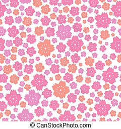 Seamless pattern of cute pink and orange flowers on white background