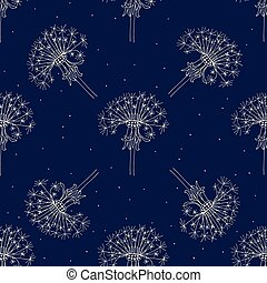 Seamless pattern of dandelions on a navy background.