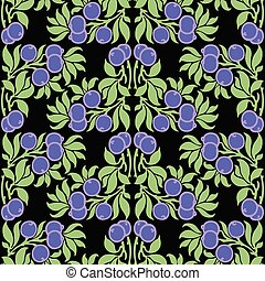 Seamless pattern of decorative blueberries
