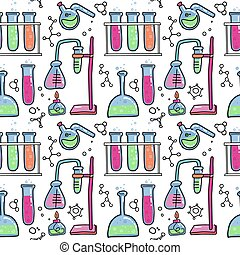 Seamless pattern of decorative color hand drawn chemical lab scientific experiment equipment isolated vector illustration. Set of flasks in doodle style on white background. Chemistry science for kids