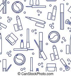 Seamless pattern of decorative cosmetics.