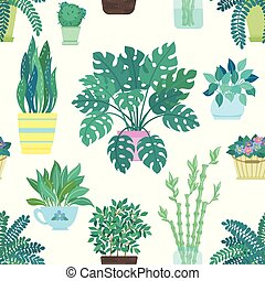 Seamless pattern of decorative houseplants isolated on white background. trendy plants growing in pots or planters. beautiful natural home decorations on white background.