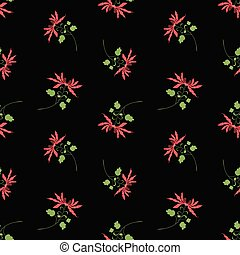 Seamless pattern of decorative red orchids