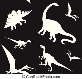 Seamless pattern of different dinosaur silhouette