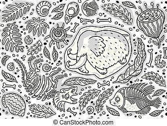 Seamless pattern of dino fossil, mammoth in ice, ancient ammonites ferns, trilobite, leaves and rocks in contour.
