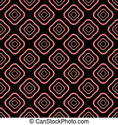 Seamless pattern of distorted squares in red and black