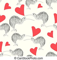 Seamless pattern of enamored kiwi with hearts on a white...