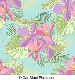 Seamless pattern of exotic flowers.