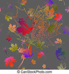 Seamless pattern of falling maple leaves.