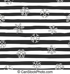 Seamless pattern of falling silver snowflakes.