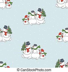 Seamless pattern of family cheerful snowmen walking in christmas