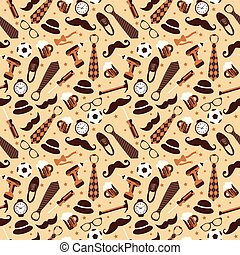 Seamless pattern of Fathers day. Flat set icons on beige ...