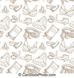 Seamless pattern of female subjects - underwear, cosmetics,...