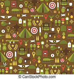 Seamless pattern of flat colorful military and war icons...