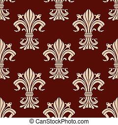 Seamless pattern of fleur-de-lis flowers