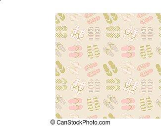 Seamless pattern of flip flops in vintage style