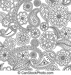 Seamless pattern of floral doodle elements. Vector coloring page book for adults.