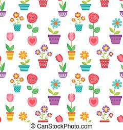 Seamless pattern of flowers in pots