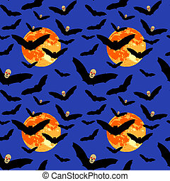 Seamless pattern of flying bat with skull head and full moon on blue