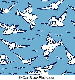 Seamless pattern of flying white birds