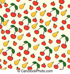 seamless pattern of fruit on yellow background illustration