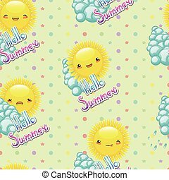 Seamless pattern of funny cartoon drawings the sun with diffe