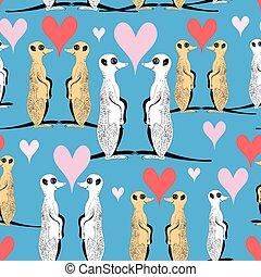 Seamless pattern of funny meerkat lovers