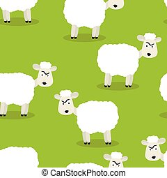 Seamless pattern of funny sheep