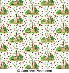 seamless pattern of garden