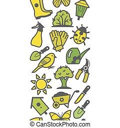 Seamless pattern of garden tools