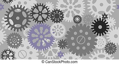 Seamless pattern of gears on grey background