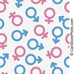 Seamless Pattern of Gender Icons, Wallpaper of Male and Female symbols