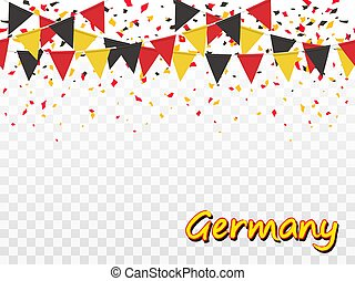 Seamless pattern of Germany flags, confetti