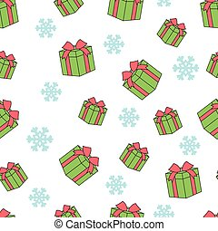 Seamless pattern of gift boxes and snowflakes