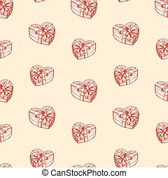Seamless pattern of gift boxes in the heart shape