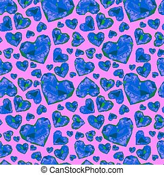 Seamless pattern of glass hearts