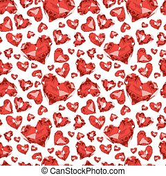 Seamless pattern of glass hearts