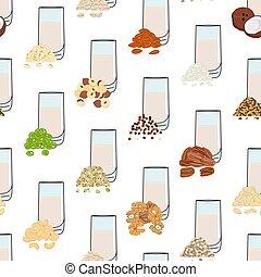 Seamless pattern of glasses with plant-based milk. Vegan milk in glass. Almond, soy, rice, coconut, cashew, oat, flax, walnut, hemp, pea milk. Milk alternatives. Hand drawn vector illustration.