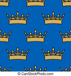 Seamless pattern of gold crowns