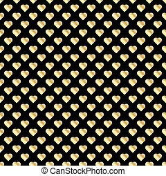 Seamless pattern of gold hearts on black background.