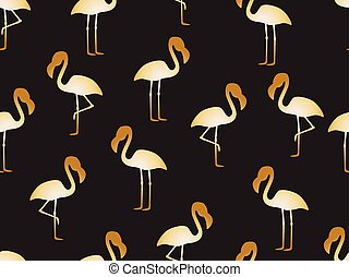 Seamless pattern of golden flamingo on black background - Vector illustration