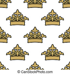 Seamless pattern of golden royal crowns