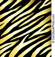 Seamless pattern of golden zebra print on black