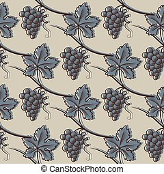 Seamless Pattern of Grape. In Blue
